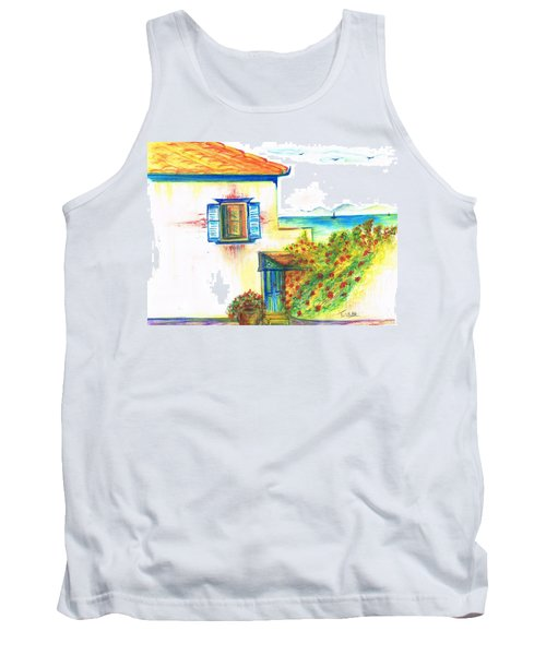 Tank Top featuring the painting Greek Island Hydra- Home by Teresa White