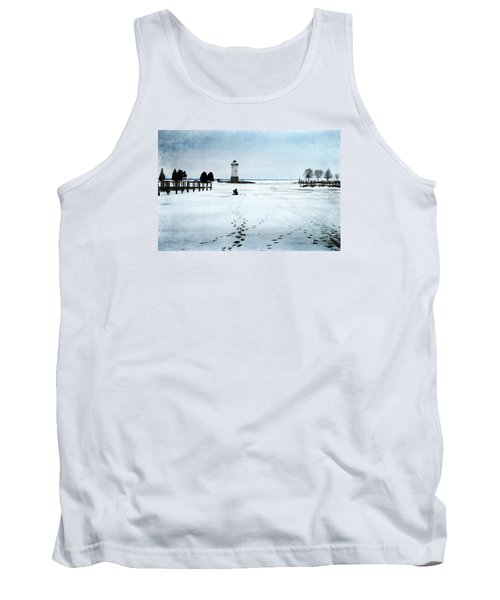 Ice Fishing Solitude 2 Tank Top by Janice Adomeit