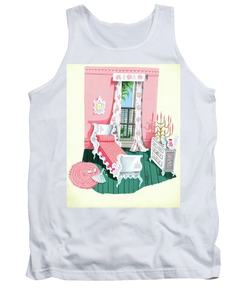 Illustration Of A Victorian Style Pink And Green Tank Top