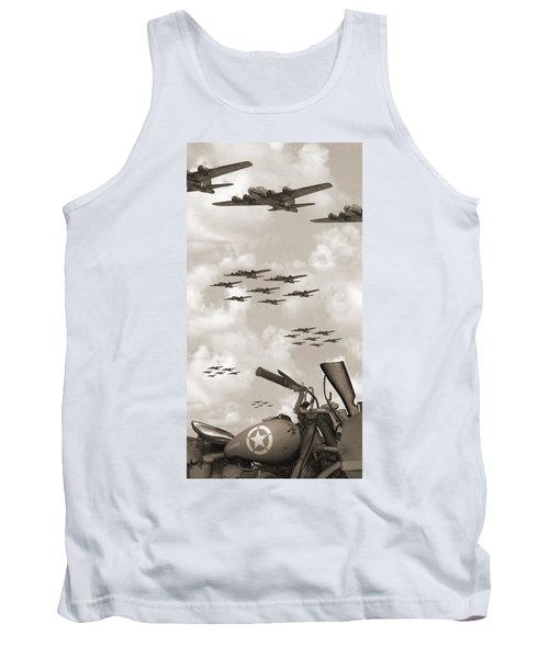 Indian 841 And The B-17 Panoramic Sepia Tank Top