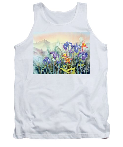 Tank Top featuring the painting Iris And Columbine II by Teresa Ascone