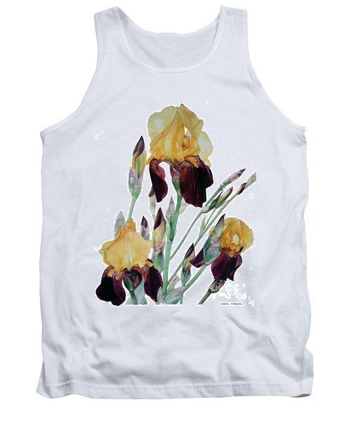 Watercolor Of Tall Bearded Iris In Yellow And Maroon I Call Iris Beethoven Tank Top