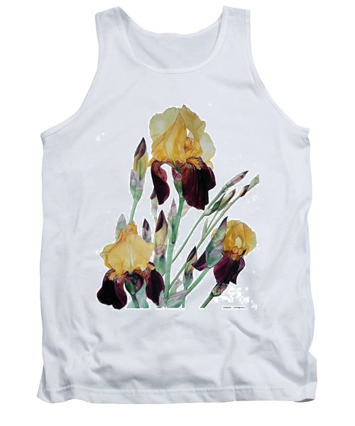 Watercolor Of Tall Bearded Iris In Yellow And Maroon I Call Iris Beethoven Tank Top