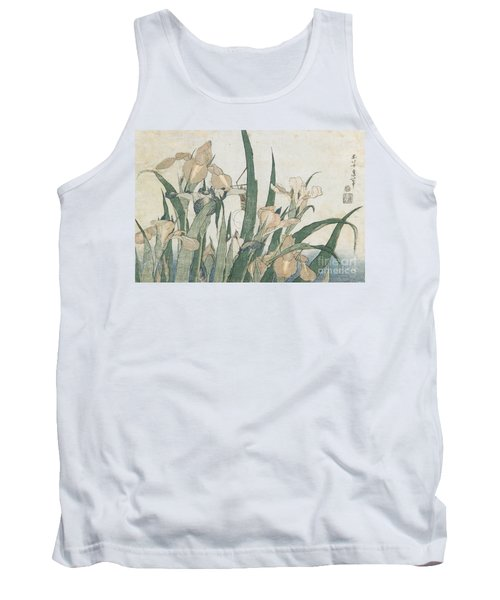 Iris Flowers And Grasshopper Tank Top by Hokusai