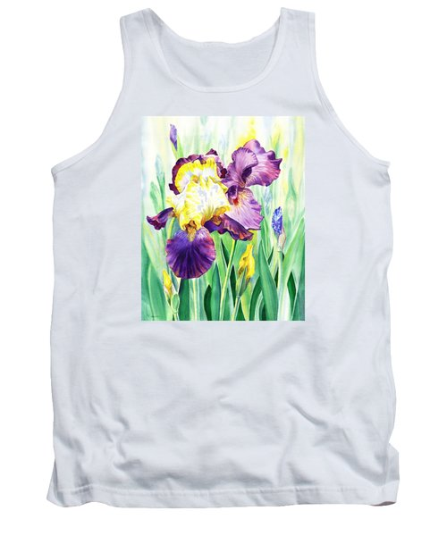Tank Top featuring the painting Iris Flowers Garden by Irina Sztukowski