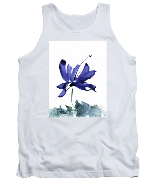 Iris In The Greenery Watercolor Tank Top by Frank Bright
