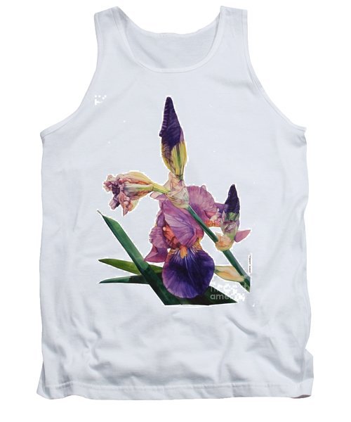 Watercolor Of A Tall Bearded Iris In A Color Rhapsody Tank Top