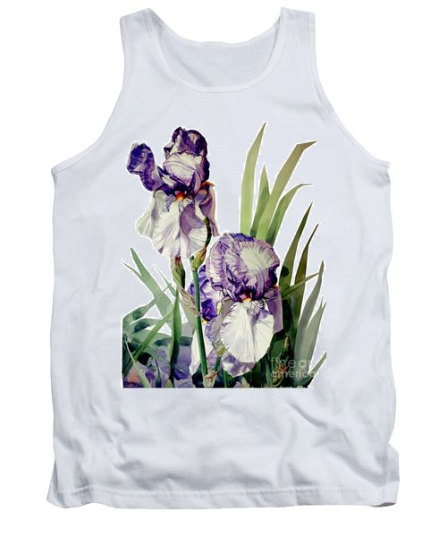 Watercolor Of A Tall Bearded Iris In Violet And White I Call Iris Selena Marie Tank Top