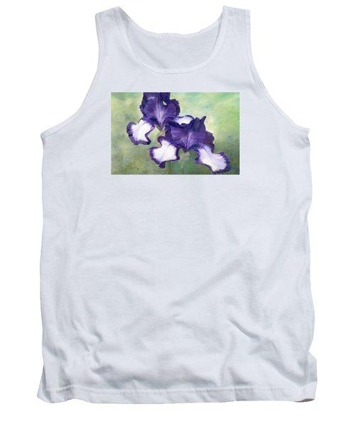 Irises Duet In Purple Flowers Colorful Original Painting Garden Iris Flowers Floral K. Joann Russell Tank Top by Elizabeth Sawyer