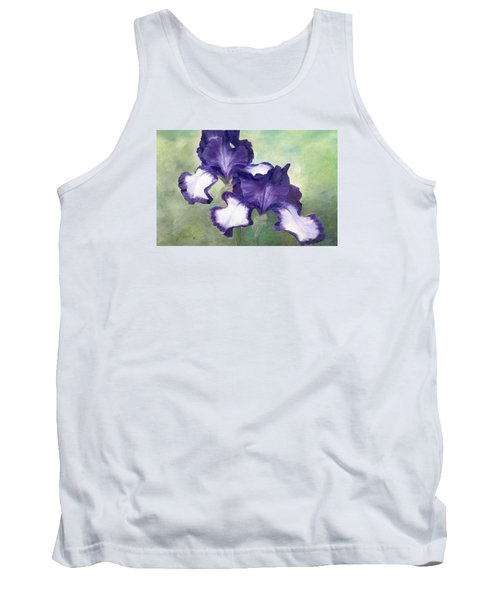 Irises Duet In Purple Flowers Colorful Original Painting Garden Iris Flowers Floral K. Joann Russell Tank Top