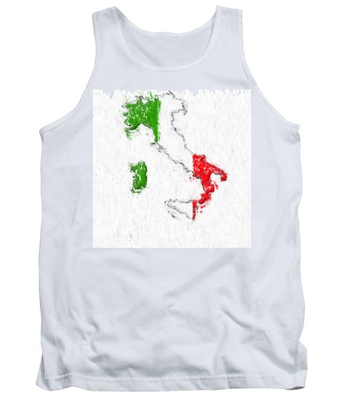 Italy Painted Flag Map Tank Top