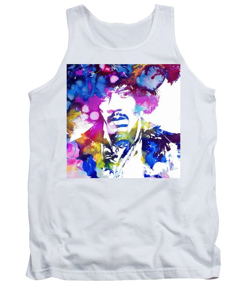 Jimi Hendrix - Psychedelic Tank Top by Doc Braham