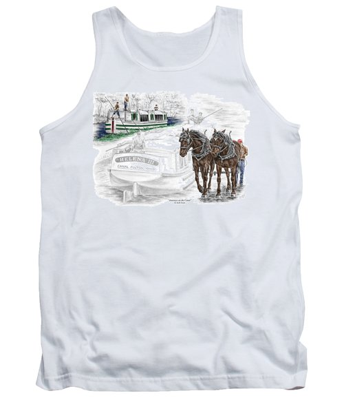 Journeys On The Canal - Canal Boat Print Color Tinted Tank Top