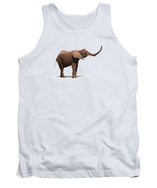 Joyful Elephant Isolated On White Tank Top