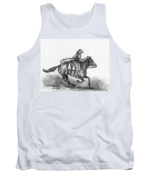 Tank Top featuring the drawing Kickin Up Dust by Shana Rowe Jackson