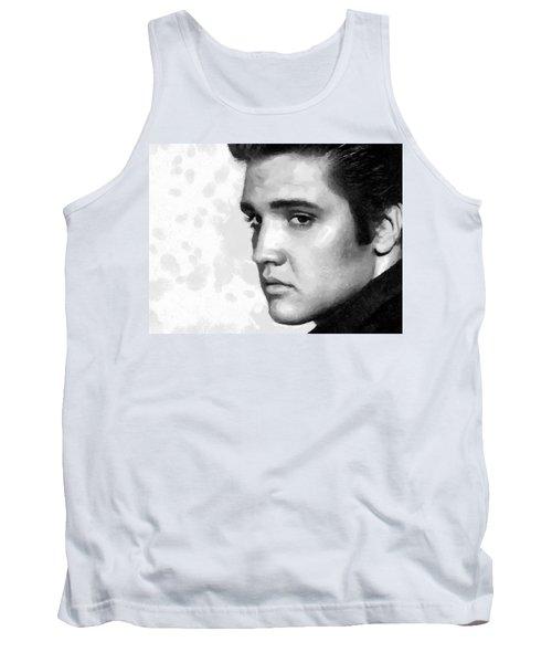 King Of Rock Elvis Presley Black And White Tank Top by Georgi Dimitrov