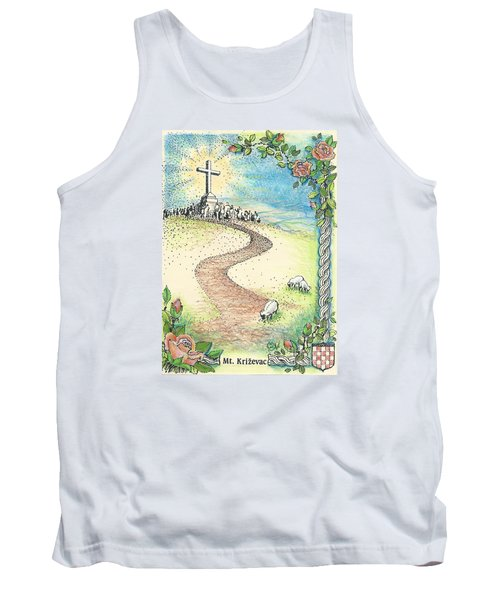 Tank Top featuring the drawing Krizevac - Cross Mountain by Christina Verdgeline