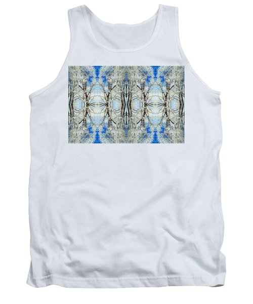 Tank Top featuring the photograph Lacy Winter Trees Abstract Art Photo by Marianne Dow