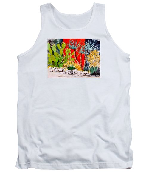 Lake Travis Cactus Garden Tank Top by Fred Jinkins
