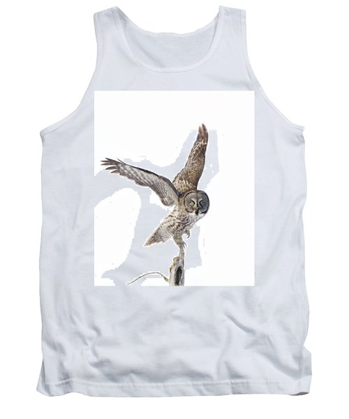 Lapland Owl On White Tank Top by Mircea Costina Photography