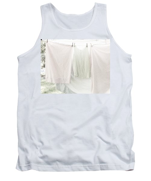 Laundry On The Line In Pink And Green Tank Top by Brooke T Ryan