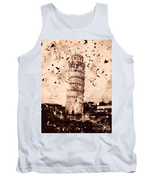 Leaning Tower Of Pisa Sepia Tank Top