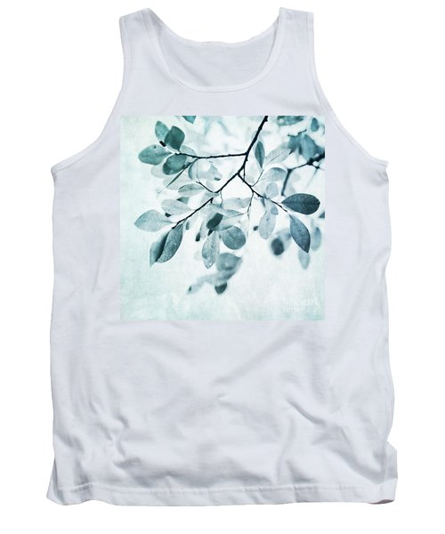 Leaves In Dusty Blue Tank Top