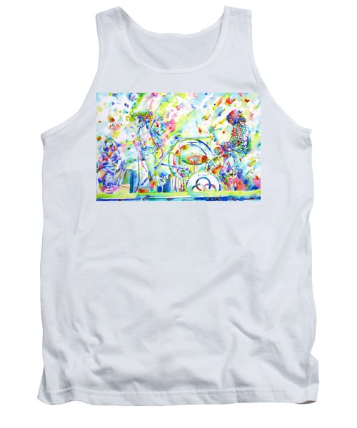 Led Zeppelin Live Concert - Watercolor Painting Tank Top by Fabrizio Cassetta