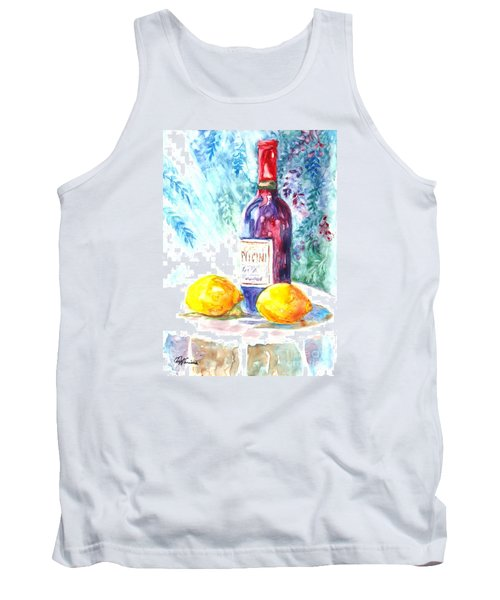Tank Top featuring the painting Lemons And Wine And A Little Sunshine by Carol Wisniewski