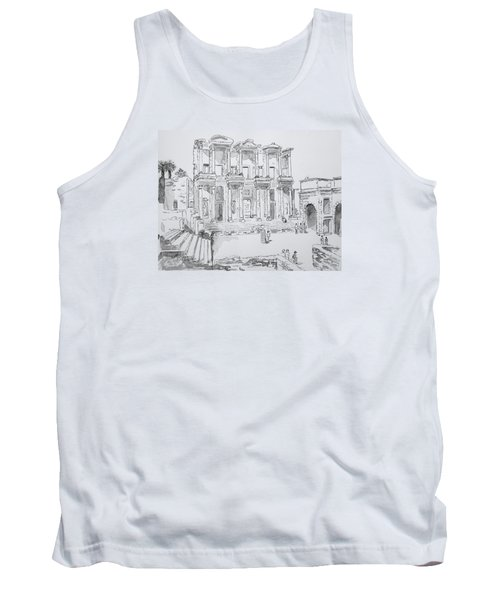 Tank Top featuring the painting Library At Ephesus by Marilyn Zalatan