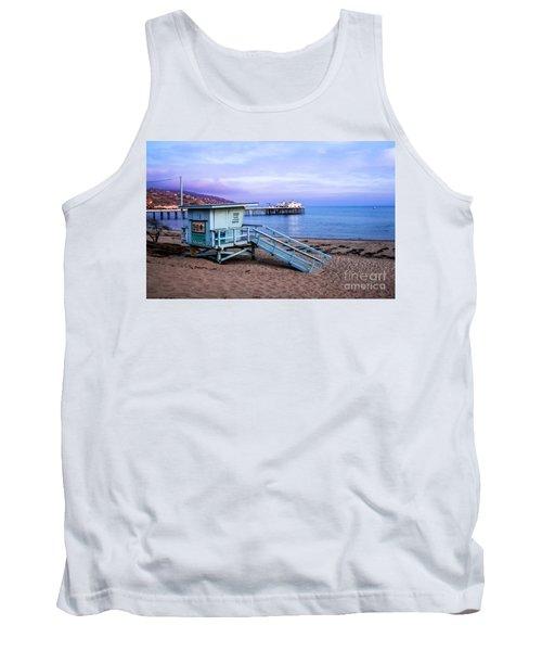 Lifeguard Tower And Malibu Beach Pier Seascape Fine Art Photograph Print Tank Top