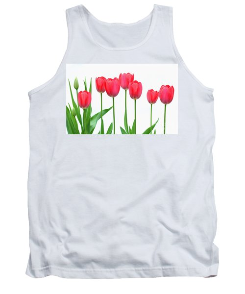 Line Of Tulips Tank Top by Steve Augustin