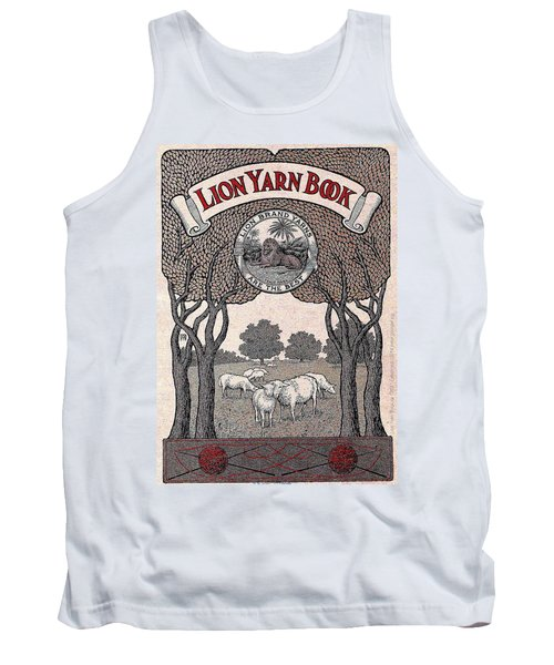 Tank Top featuring the drawing Antique Lion Yarn Book by Peter Gumaer Ogden