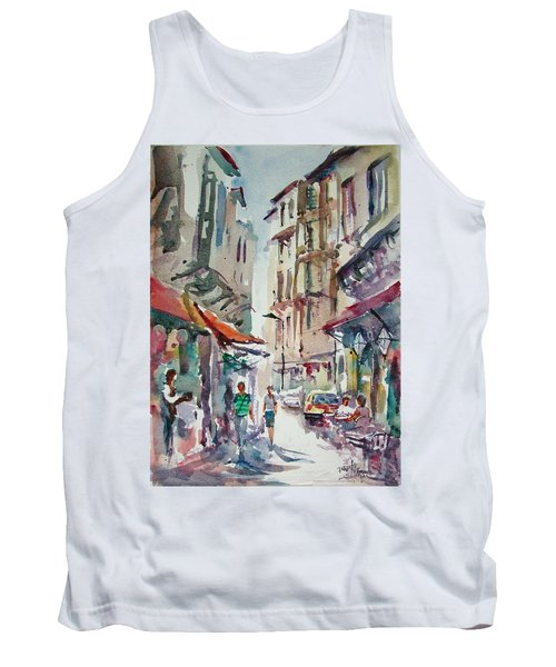 Tank Top featuring the painting Little Trip At Exotic Streets In Istanbul by Faruk Koksal