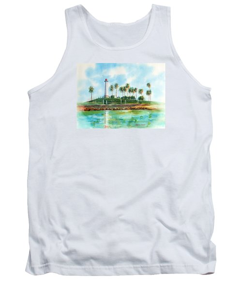 Long Beach Lighthouse  Version 2 Tank Top by Debbie Lewis
