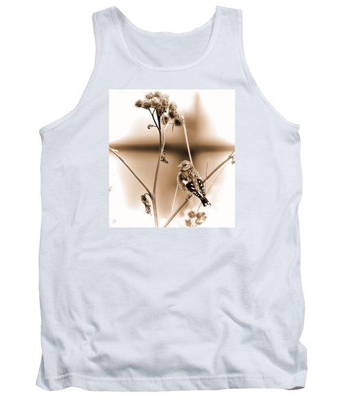 Tank Top featuring the photograph Looking Sep Small Brown Grey Yellow And Black Bird Posing For Portrait On A Branch Of A Plant by Leif Sohlman