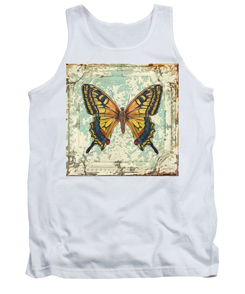 Lovely Yellow Butterfly On Tin Tile Tank Top by Jean Plout