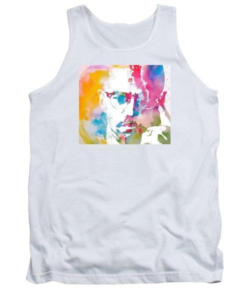 Malcolm X Watercolor Tank Top by Dan Sproul