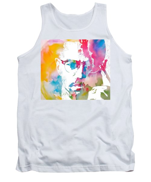 Tank Top featuring the painting Malcolm X Watercolor by Dan Sproul