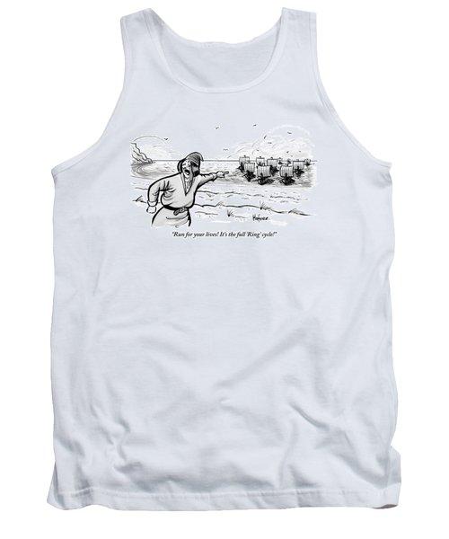 Man Standing On The Beach Screams As A Fleet Tank Top