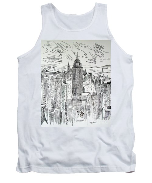 Tank Top featuring the drawing Manhattan by Janice Rae Pariza