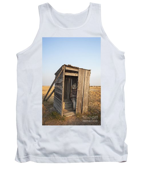 Mannequin Sitting In Old Wooden Outhouse Tank Top
