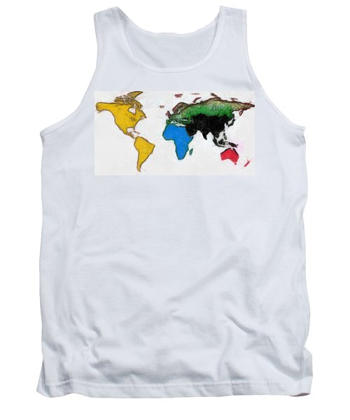 Map Digital Art World Tank Top