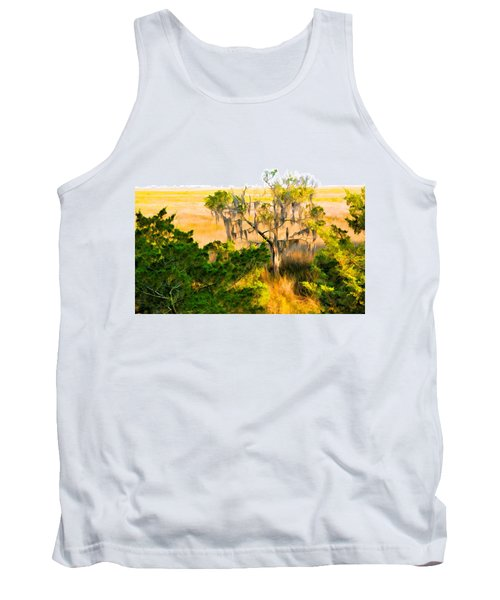 Marsh Cedar Tree And Moss Tank Top