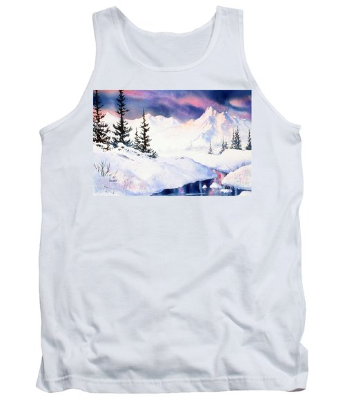Tank Top featuring the painting Matanuska Sunset Impression by Teresa Ascone