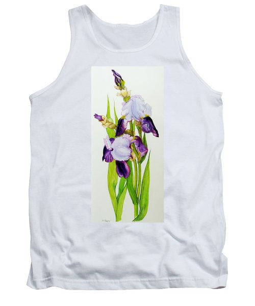 Mauve And Purple Irises With Two Buds  Tank Top