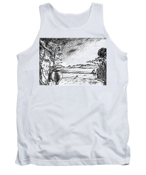 Tank Top featuring the drawing Mediterranean Cat by Teresa White