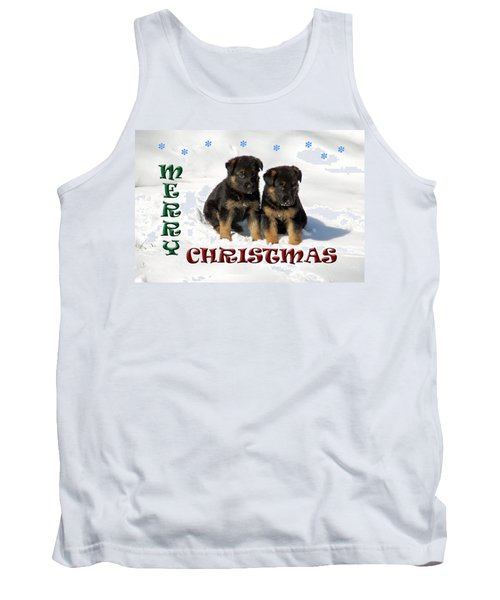 Merry Christmas Puppies Tank Top