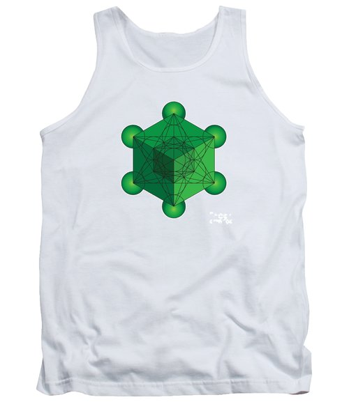 Metatron's Cube In Green Tank Top
