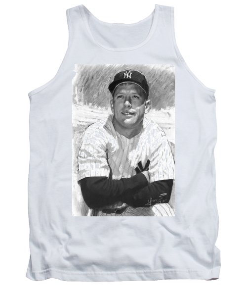 Tank Top featuring the drawing Mickey Mantle by Viola El